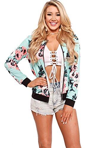 (Mojessy Women's Floral Print Classic Bomber Jacket Fall Biker Baseball Jacket Short Coat)