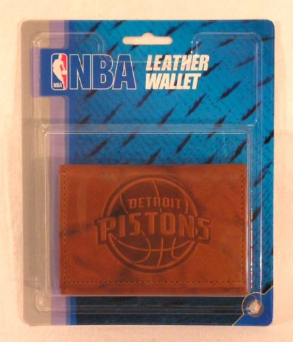 NBA Detroit Pistons Leather Trifold Wallet with Man Made Interior - Nba Detroit Pistons Leather