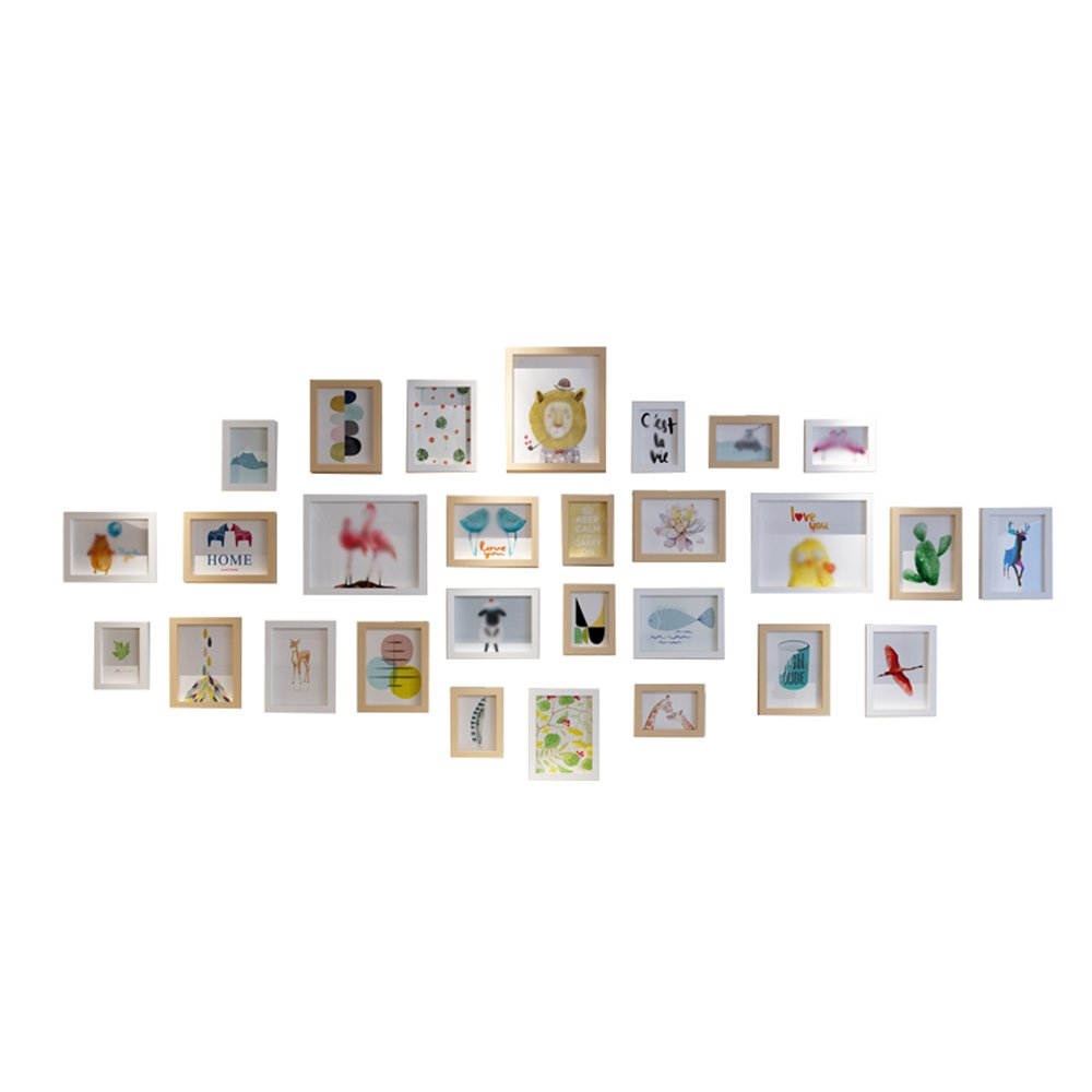 Simple and modern living room photo wall / picture frame wall European photo frame wall combination / photo wall 28 box ( Color : White original combination ) by Photo Wall