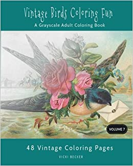 vintage birds coloring fun a grayscale adult coloring book grayscale coloring books volume 7