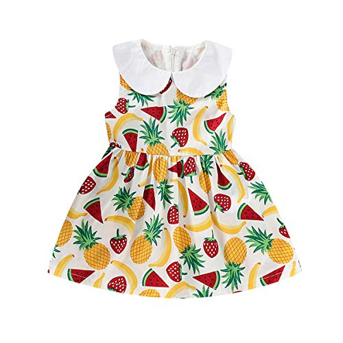 (YOUNGER TREE Toddler Baby Girls Cute Fruit Peter Pan Collar Sleeveless Dress Kids Summer Outfits (Fruit, 5T))