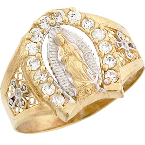 (Jewelry Liquidation 10k 2 Tone Gold Our Lady of Guadalupe Religious Horseshoe CZ Mens Ring)