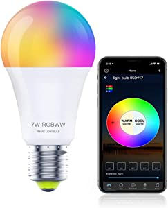 Smart WiFi Light Bulbs Dimmable,Work with Alexa,Google Home,E26 Music Sync RGB Color Changing Bulb,A19 7W 60W Equivalent LED Bulb for Living Room, Bedroom,No Hub Required (Support WiFi/Alexa)