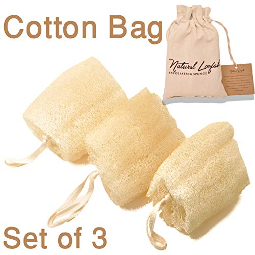 Set of 3 Egyptian Loofah 100% Natural SPA Beauty Bath Sponge Body Puff Scrubber. Premium Quality Lofa Loofa Luffa Loffa for exfoliating Your Skin