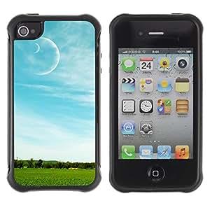Suave TPU Caso Carcasa de Caucho Funda para Apple Iphone 4 / 4S / Nature Field Moon / STRONG