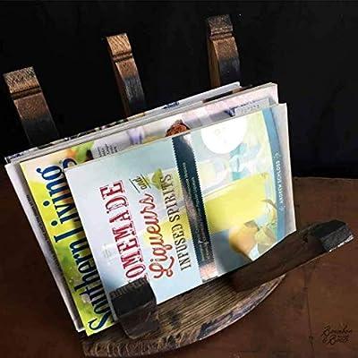 Reclaimed Bourbon or Wine Barrel Magazine Rack