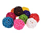 10pcs Rattan Balls Bird Toy DIY Accessories Toy for Parrot Budgie Parakeet Cockatiel Conure Lovebird Finch Macaw African Grey Cockatoo Amazon Cage Part Random Color (3cm/ 1.18'')