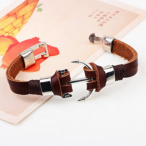 MORE FUN Handmade Brown Color Leather Double Layer Cuff Bangle Charm Clasps Nautical Bracelets