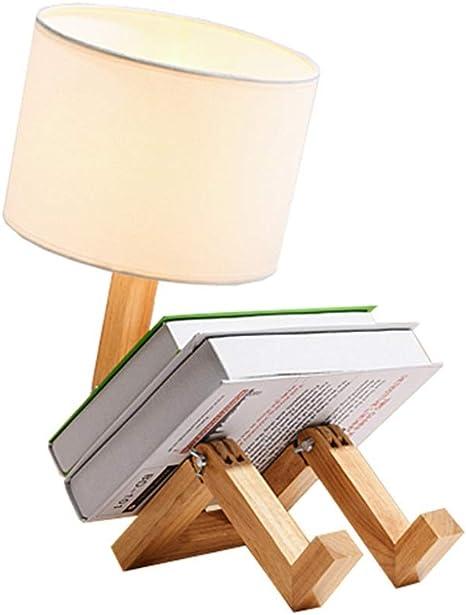 Shirleys Home Lámpara de mesa, niño sentado en madera original ...