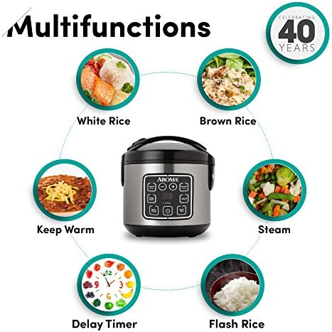 Aroma Housewares 2-8-Cups (Cooked) Digital Cool-Touch Rice Grain Cooker and Food Steamer, Stainless, 8 Cup, Silver 51VG7ocGGTL