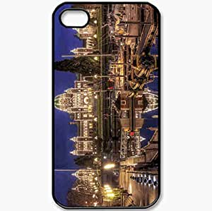 Protective Case Back Cover For iPhone 4 4S Case Victoria Canada Parliament Wharf Night Yacht Black