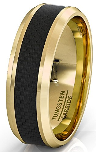 (Duke Collections 8mm 18k Plated Gold Tungsten Ring Black Carbon Fiber Surface Beveled Edges Comfort Fit (9))