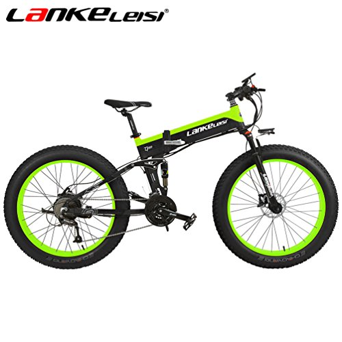 LANKELEISI 26'' Fat Wheel Folding Electric Bicycle 48V 10Ah Shimano 27 Speed Full Suspension Snow Mountain MTB E-Bike with 1000W Motor,Dual Hydraulic Disc Brake (Black-Green)