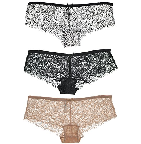 Marilyn Monroe Intimates Women's All Lace Boyshort Panties (3 Pr) (Small, Animal Print, Nude, Black)