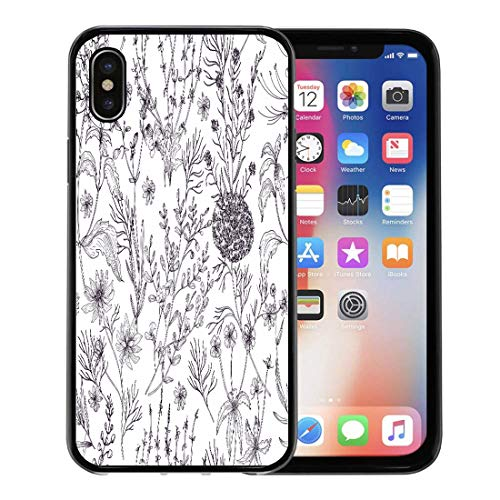 (Emvency Phone Case for Apple iPhone Xs case,Antique Floral Wild Flowers Flowering Herbs and Herbaceous Plants in Black White Colors Contour Lines for iPhone X Case,Rubber Border Protective Case,Black)