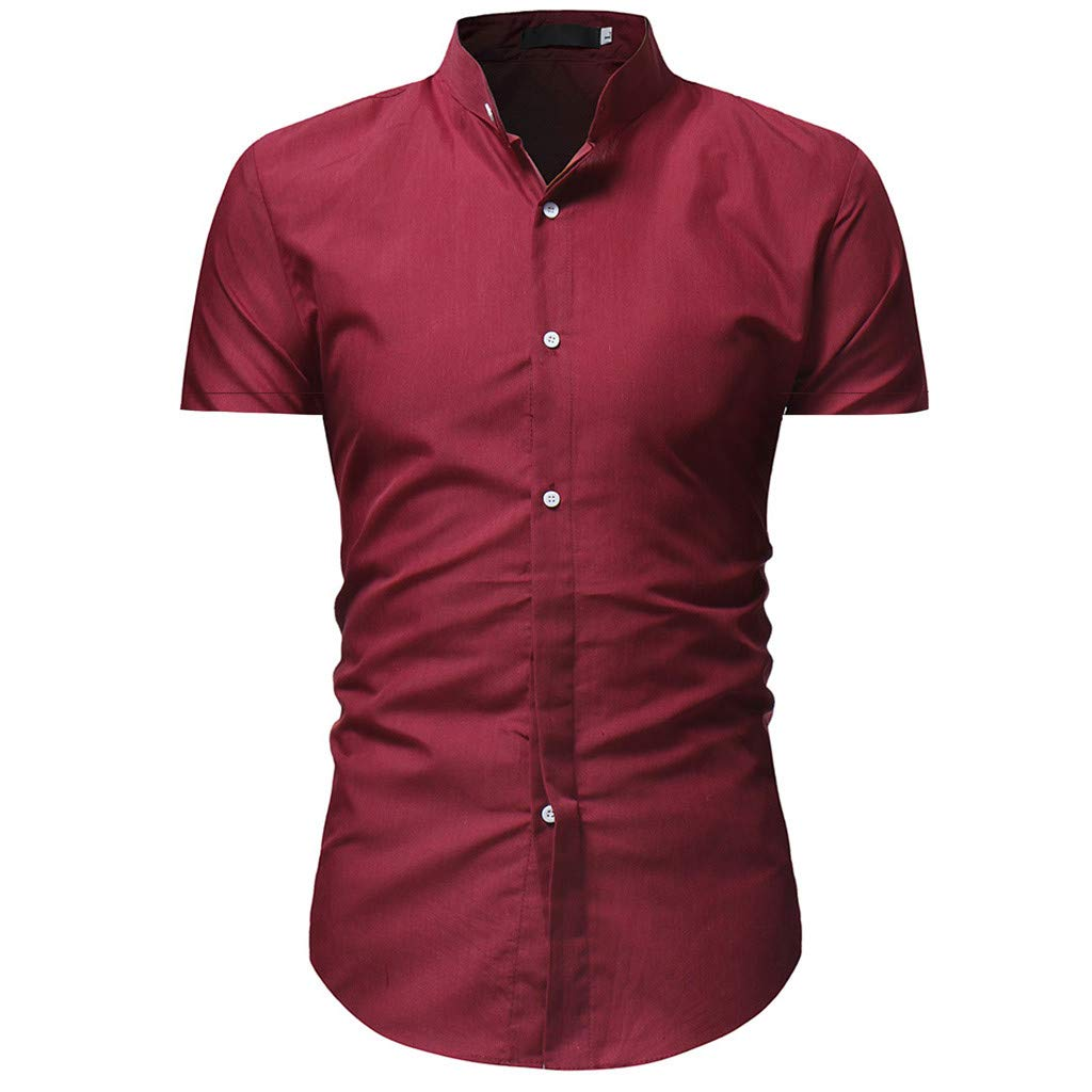 81c9d647db4 Pandaie Mens Blouse Shirts Men's Solid Casual Button Down Short Sleeve Shirt  Top Blouse at Amazon Men's Clothing store