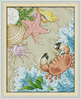 47cm/×58 or 18.33/×22.62 Joy Sunday Cross Stitch kits The beach,11CT Counted
