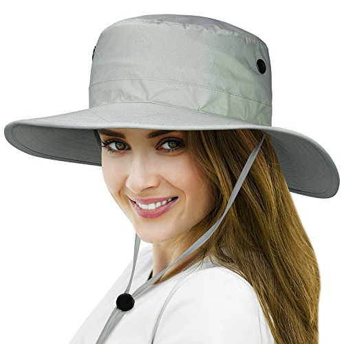 148522e1a7c Tirrinia Unisex Waterproof Sun Hat Wide Brim Safari Fishing Golf Boonie Hat  with Adjustable Drawstring for