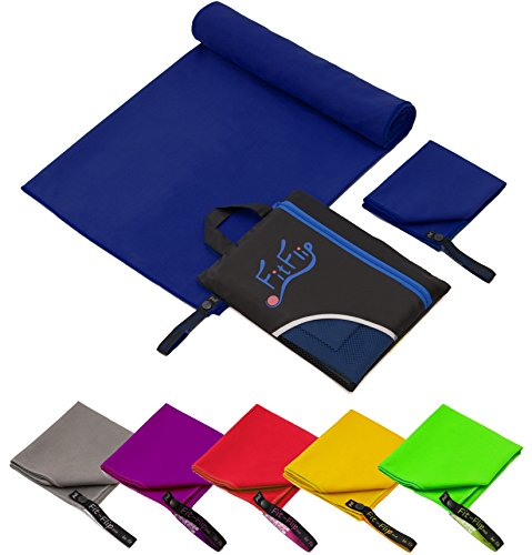 2er-Set Mikrofaser Handtücher, 70x140cm + 30x50cm, ultra saugfähig + leicht, Sporthandtuch, Reisehandtuch, Badetuch Microfaser