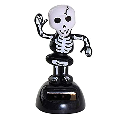 FENICAL Solar Powered Dashboard Toys Desk Bobblehead Skeleton Skull Halloween Doll Party Decoration: Toys & Games