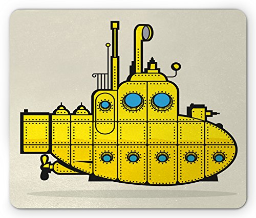 Ambesonne Yellow Submarine Mouse Pad, Retro Grunge Marine Vessel Industrial Nautical Ocean Theme, Rectangle Non-Slip Rubber Mousepad, Standard Size, Blue Gray