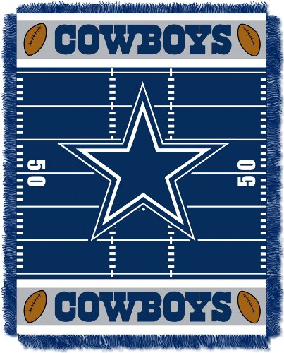 "The Northwest Company Officially Licensed NFL Dallas Cowboys Field Bear Woven Jacquard Baby Throw Blanket, 36"" x 46"""