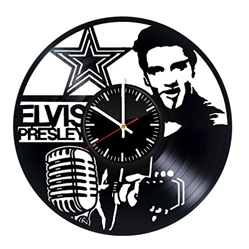 (Fun Door Elvis Presley Singer Handmade Vinyl Record Wall Clock for Birthday Wedding Anniversary Valentine's Mother's Ideas for Men and Women him and)