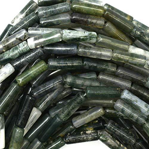 13mm Green Moss Agate Tube Beads 16
