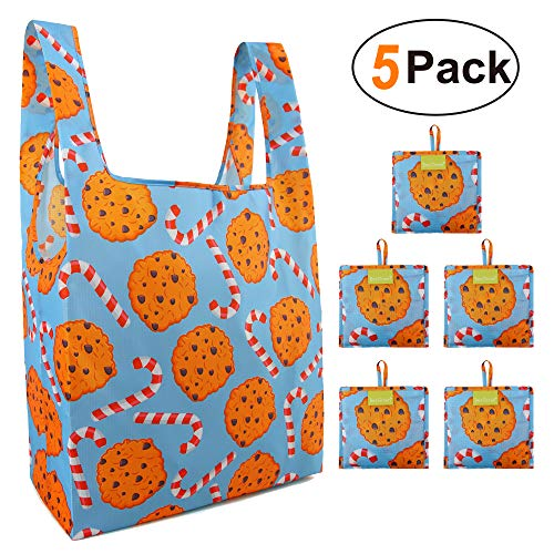 Shopping Tote Bags Reusable Gift Bags Cute 5 Pack Fashion Bags for Women Girls Grocery Tote Bags with Reusable Pocket 50LB Foldable Travel Bags Waterproof Durable Washable -