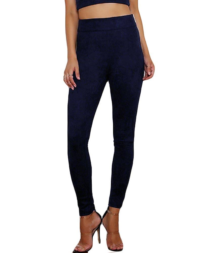 Dark bluee Romacci Women Faux Suede Leggings Solid Zipper High Waist Skinny Pants Tights Slim Bodycon Pencil Trousers