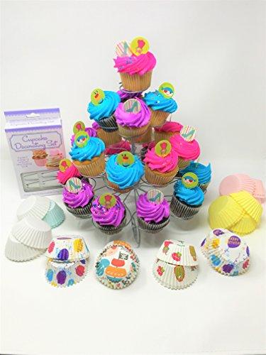 207 piece – Cupcake – Baking – Set – Fun Pack - Cupcake Stand – Cupcake Toppers – Cupcake Liners – Decorating Kit – Princess – Pirate - Cupcake Decorations -
