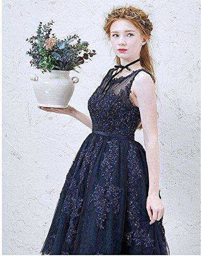 Azul oscuro Emily de Sin coctel Cuello de los vestidos Encaje del O mangas del longitud transparente Beauty la del rodilla wHd7qn