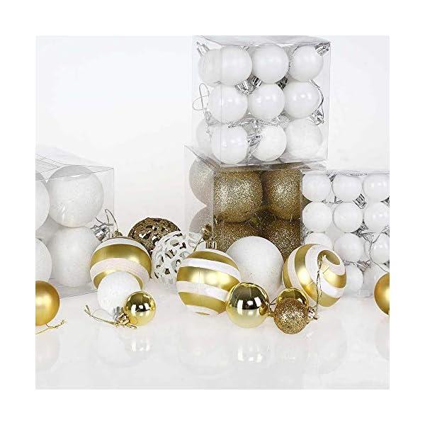 BAKAJI Confezione 100 Palline di Natale Diametro 3/4/6 cm Addobbi e Decorazioni per Albero di Natale (Bianco Oro) 2 spesavip