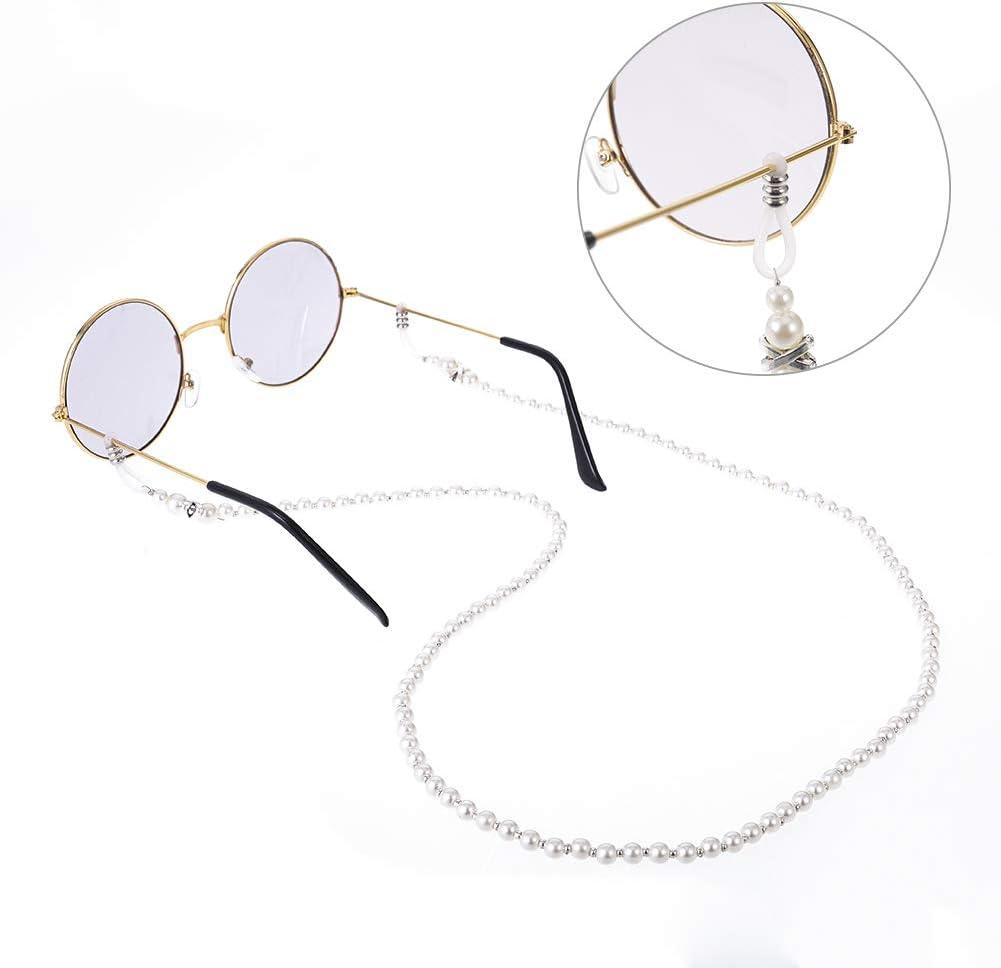 2 Pcs Pearl Eyewear Strap Holder Sunglasses Cord for Women Beaded Eyeglass Chains