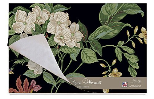 Cala Home 24-Pack Disposable Paper Placemats, Williamsburg Garden Images-Black