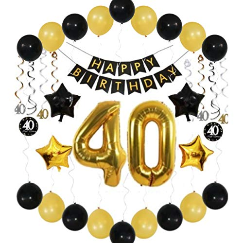 Uncommon Laundry 40th Birthday Balloons: Decorations Ideas Party Supplies for 40 Year Old for Him Her Man/Woman, Happy Birthday Banner, 38 inch 40 Gold Number Balloons, Hanging Swirls, 36 Piece Pack
