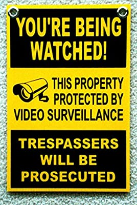 "1 Pc Rousing Unique You're Being Watched Signs 24Hr Message Security Board Door Hanger Outdoor Warning Doors Sign Home Premises Hour Yard Video Hr Surveillance Reflective Size 8""x12"" w/ Grommets"
