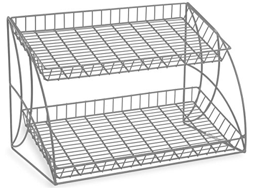 Countertop Steel Wire Rack With 2 Shelves, 25-3/4 x 18 x 16-1/2-Inch, Tiered, Open Shelf Design, Slanted, Space Saving