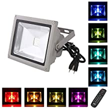 LOFTEK® 20W Waterproof Outdoor Security LED Flood Light Spotlight High Powered RGB Color Change(16 Different Color Tones) with Plug and Remote Control AC85V-265V, with 1 meter power plug. 920WFL