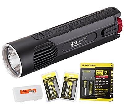 Bundle - 5 Items: NiteCore EC4S 2150 Lumens CREE XHP50 LED Flashlight with 2x Nitecore 18650 Rechargeable Batteries, Nitecore i2 Smart Charger and LumenTac Battery Organizer