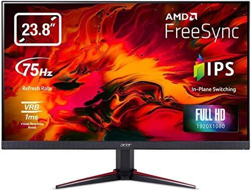 Acer Nitro VG240Y bmiix 23.8″ Full HD (1920 x 1080) IPS Monitor with AMD Radeon FREESYNC Technology – 1ms VRB | 75Hz Refresh | (2 x HDMI Ports & 1 x VGA),Black