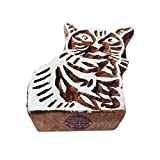 Stylish Cat Animal Shape Wood Print Textile Block