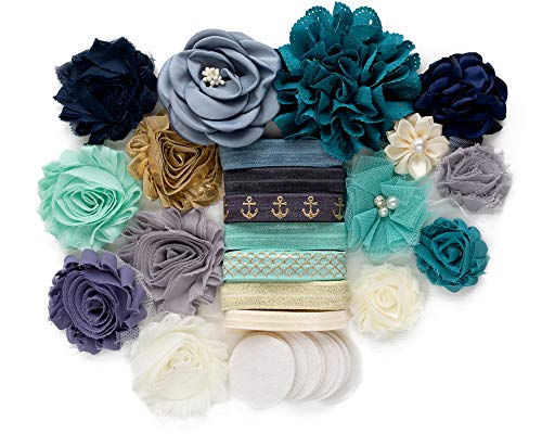 Shore Thing : DIY Headband Making Station Kit | Makes 12 Unique Hair Accessories | Baby Shower Toddler Tween| Shabby Chiffon Craft Roses Elastics : Sage Nautical Charcoal Ocean Blue Elegant Floral