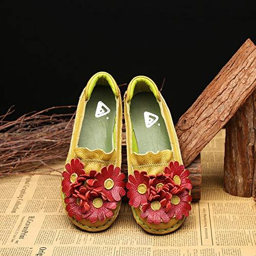 Flats Soft coloré Flat Vintage Jaune Floral Shoes Casual EU Jaune Femmes 39 Cuir Taille en ZHRUI BwInaTqfB