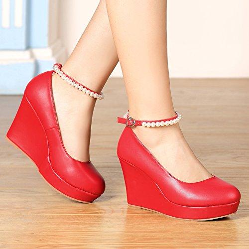 getmorebeauty Women's Jane Dress High Red Diamonds Mary Party Heel Wedge rrxqnwU