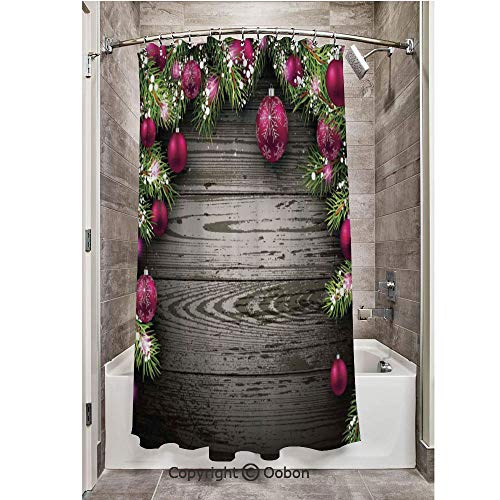 Oobon Shower Curtains, Old Fashioned Concept Twigs and Balls on Rustic Wood Vintage Decor, Fabric Bathroom Decor Set with Hooks, 54 x 78 Inches ()