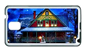 Sale fun Samsung Note 3 cover Snow winter house New Year Christmas lights trees evening TPU White for Samsung Note 3/Samsung N9000