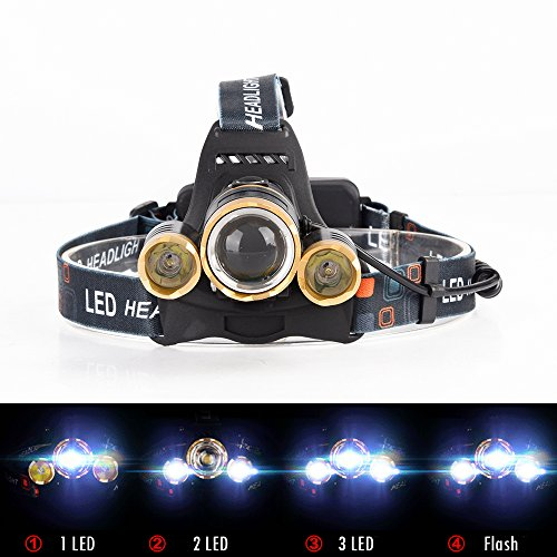 GWH 5000 Lumen Zoomable 3 T6 LED Headlamp Waterproof Outdoor Headlight Rechargeable Head Light Lamp for Camping Hunting Cycling Working Hiking