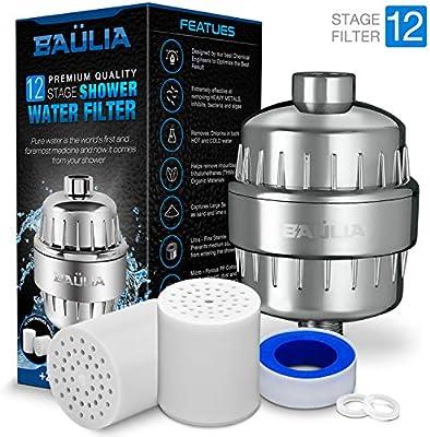 Baulia - Filtro de agua para ducha de 12 etapas, fácil instalación ...
