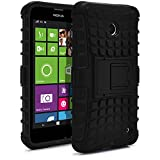 Nokia Lumia 630 Case, Nokia Lumia 635 Case, MagicMobile® Hybrid Armor Heavy Duty Shockproof Impact Resistant Dual Hard Black Plastic Layer and Black Flexible TPU Gel Skin Defender Cover with Kickstand [ Compatible with Nokia Lumia 630 / 635 All Carriers]